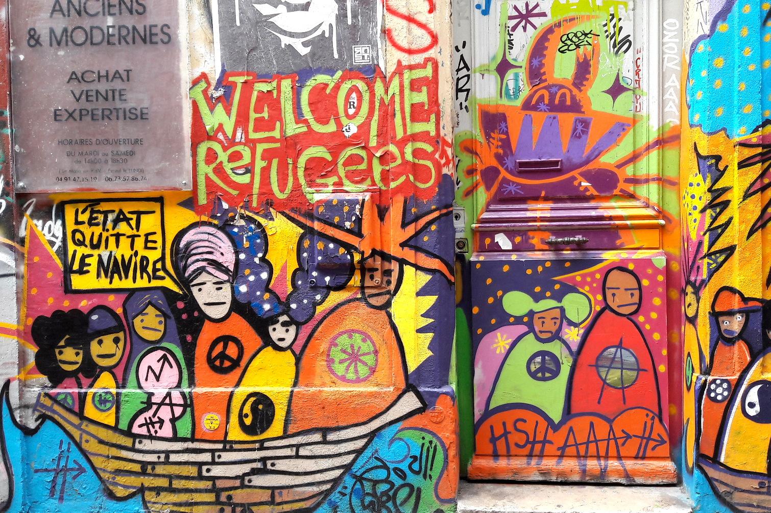 Vue d'une fresque de Street Art à Marseille